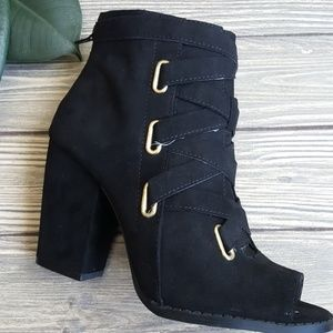 Sweetbb Shoes - CATHERINE Peep Toe Lace up Ankle Bootie
